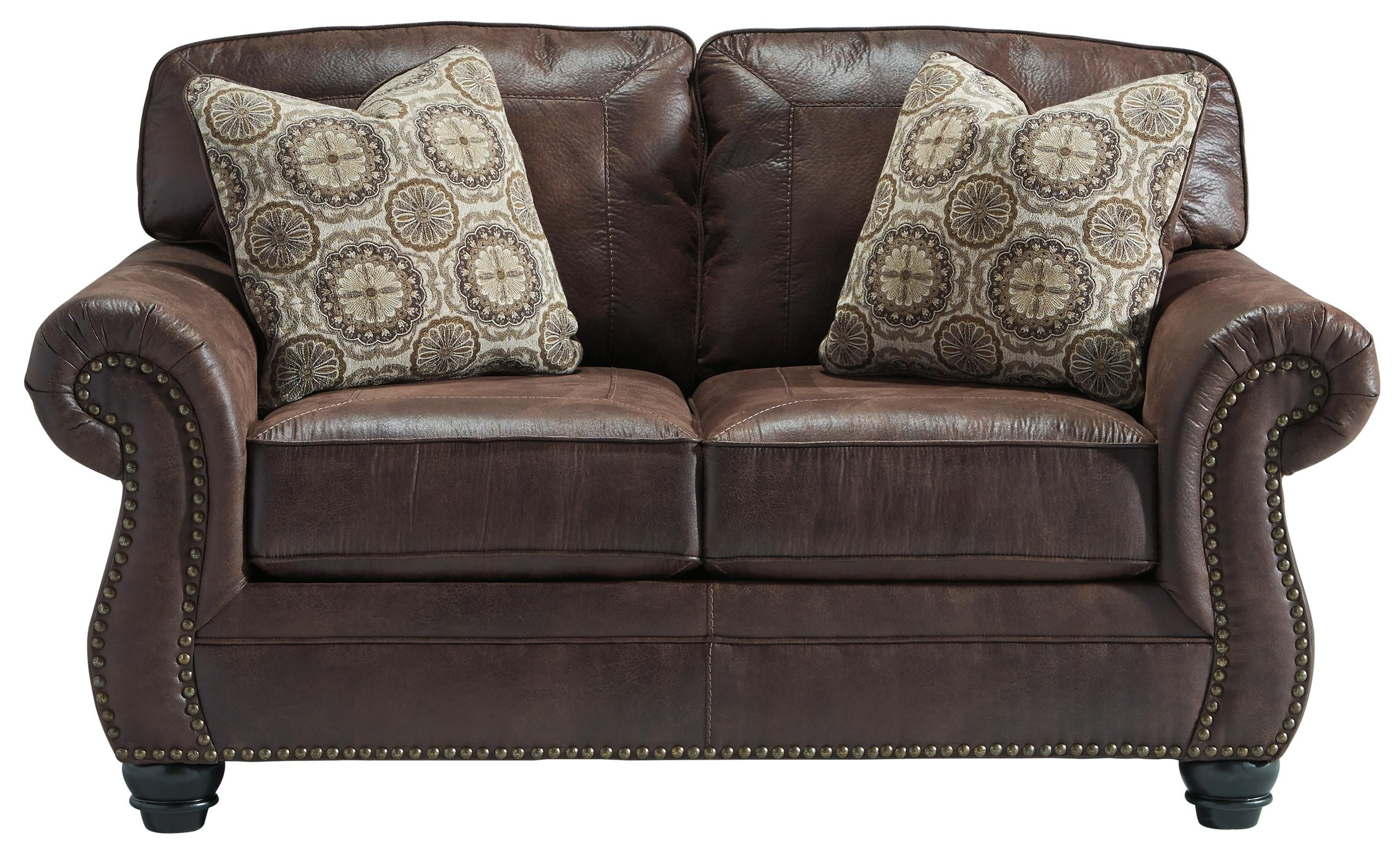 Best Breville Faux Leather Loveseat With Rolled Arms Nailhead 400 x 300
