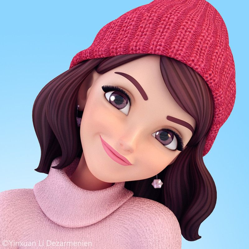 2 Female Cartoon Characters : I made a new set of stickers for winter it s on app store