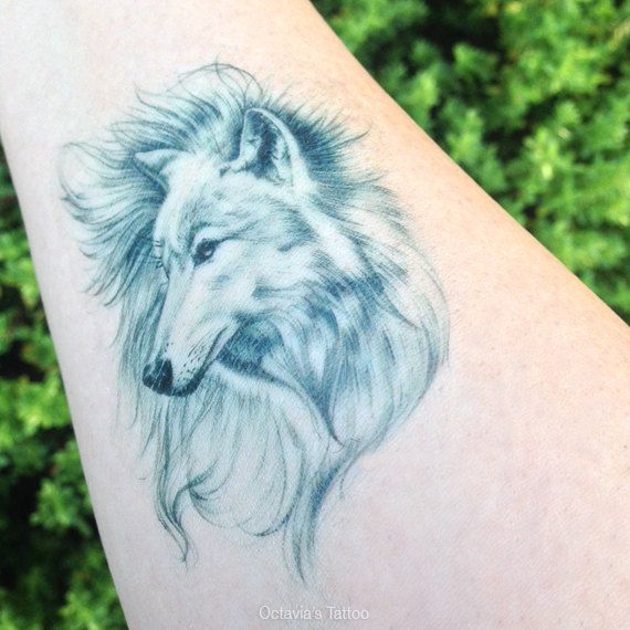 d5f900611 Beautiful Wolf Tattoo, Wolf Tattoo, Arctic Wolf, Temporary Tattoo ...