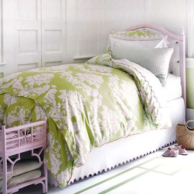 More pink and green bedding