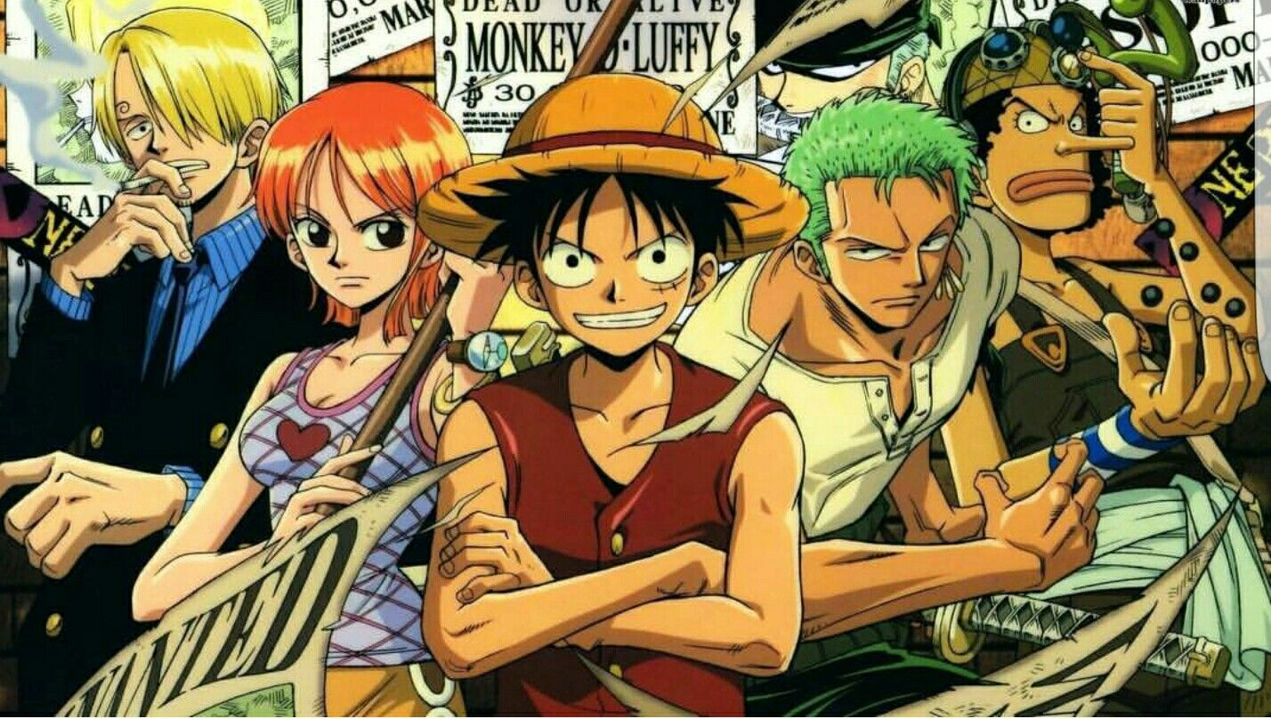 Sanji, Nami, Luffy, Zoro, Usopp, wanted posters; One Piece