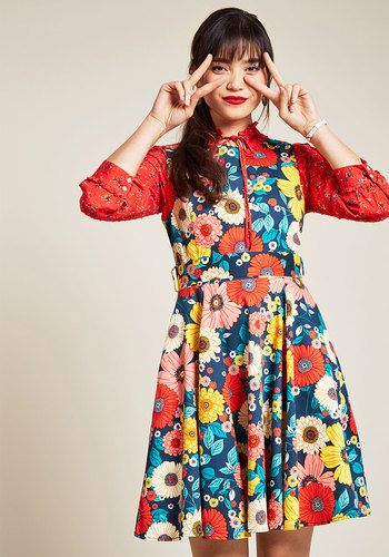 ff94fedac93 Hour by Flower A-Line Dress in Retro Blossom. For a friend-filled soiree