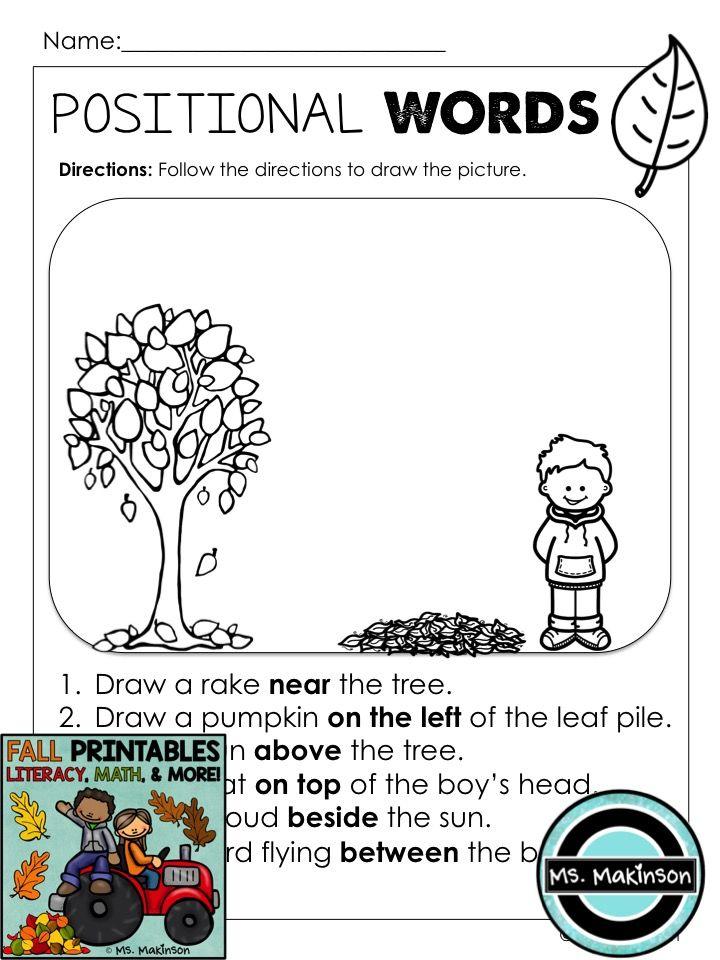 Fall Printables Literacy Math Science Kindergarten Worksheets Kindergarten Worksheets Printable Kindergarten Phonics Worksheets Positional words kindergarten worksheets