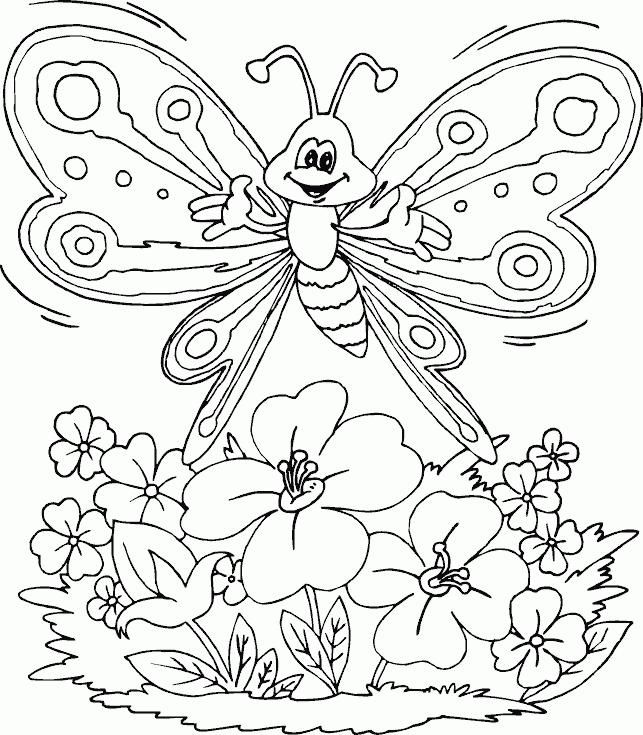 Flowers and butterflies coloring pages 2