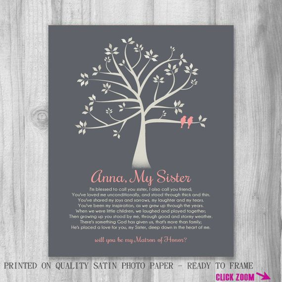 Personalized Sister Gift Canvas Print Matron Of Honor