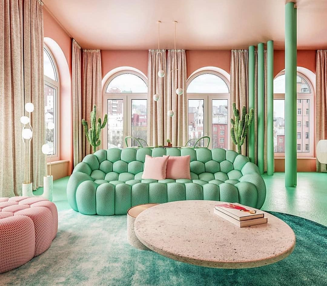 """collective design on instagram: """"this mint couch is to die"""