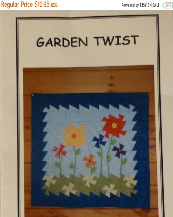 "YEAR END SALE Pattern - Garden Twist - Wall Hanging - 36"" x 36"", Uses the Lil' Twister Ruler and 5 "" Squares , pt126"