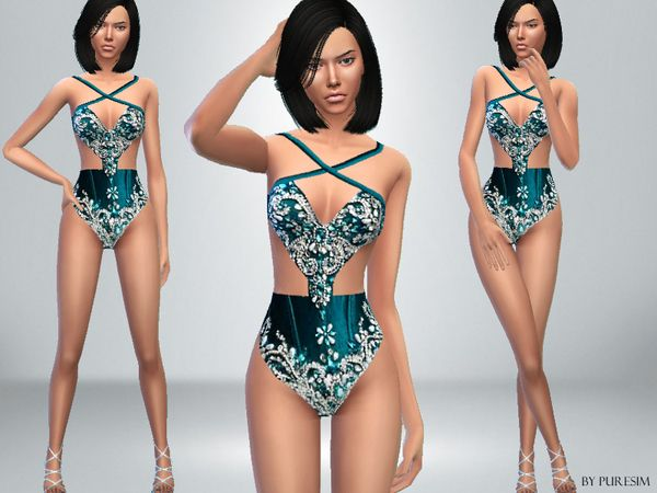 The Sims Resource: Jeweled Bodysuit by PureSim � Sims 4 Downloads