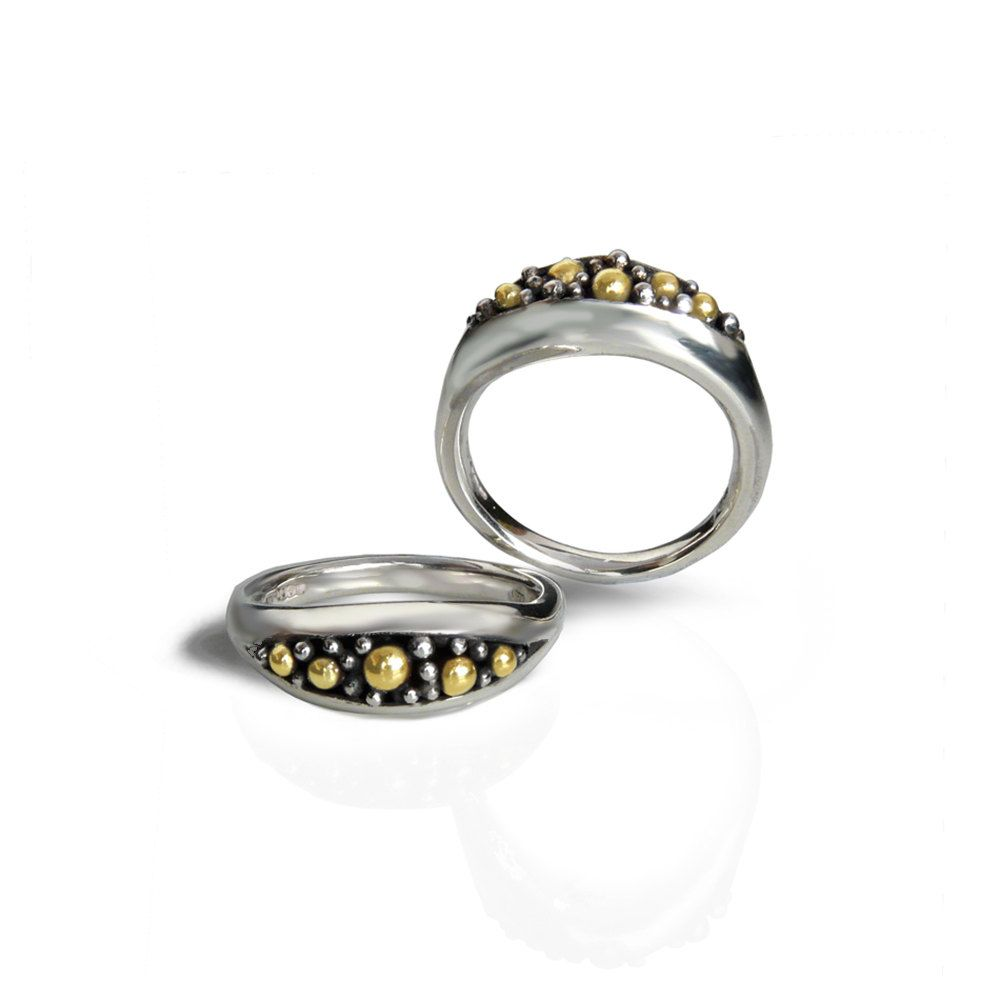 Contemporary Silver Ring with five 18kt gold beadsModern Fine