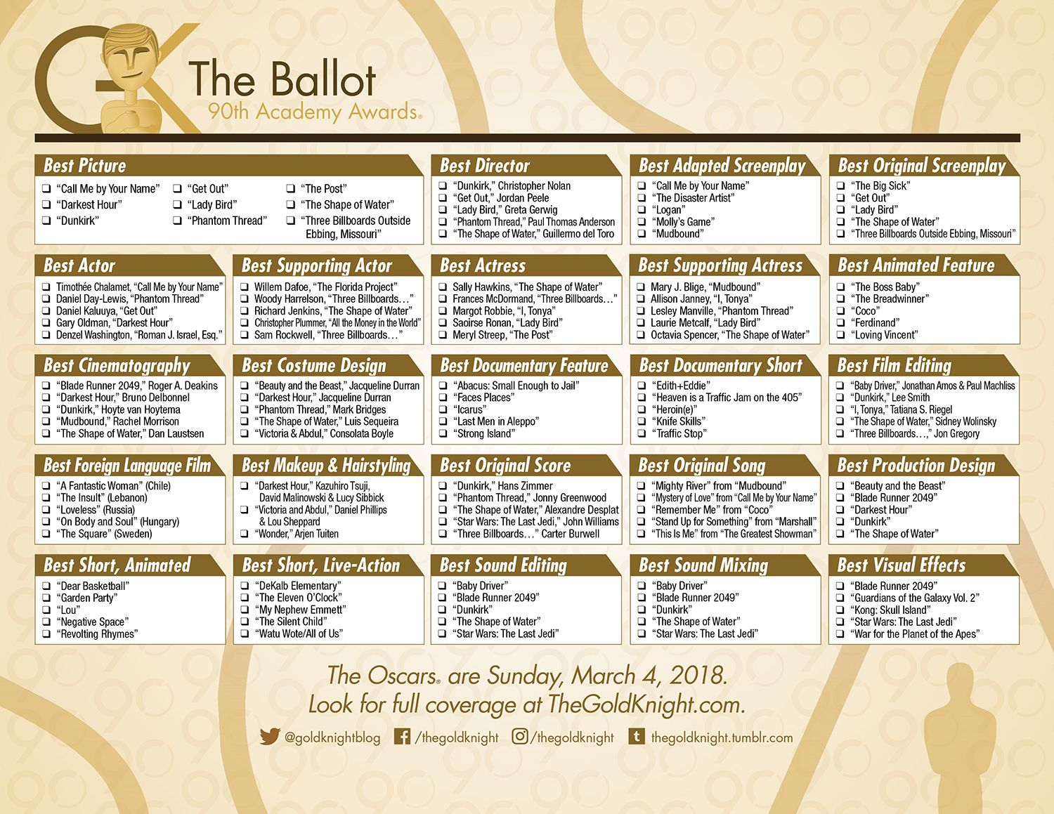 graphic relating to Printable Ballot identified as 2018 Printable Oscars Ballot #oscars #ballot #bash Oscar
