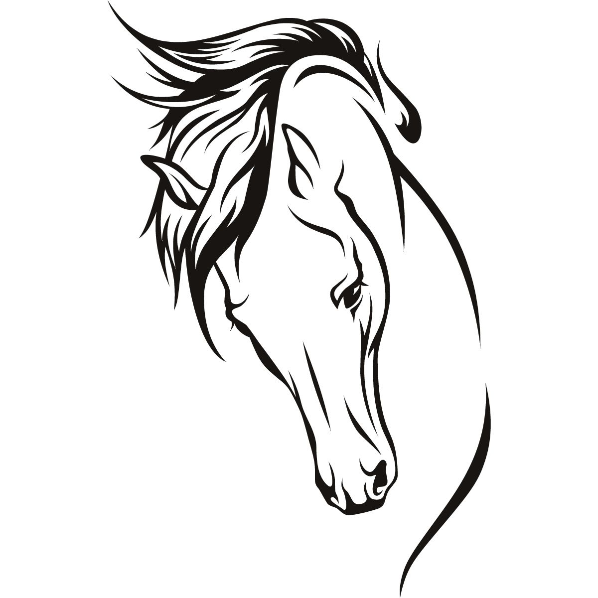 Horse Line Drawing Tattoo : Horses head wall art stickers decal transfers horse
