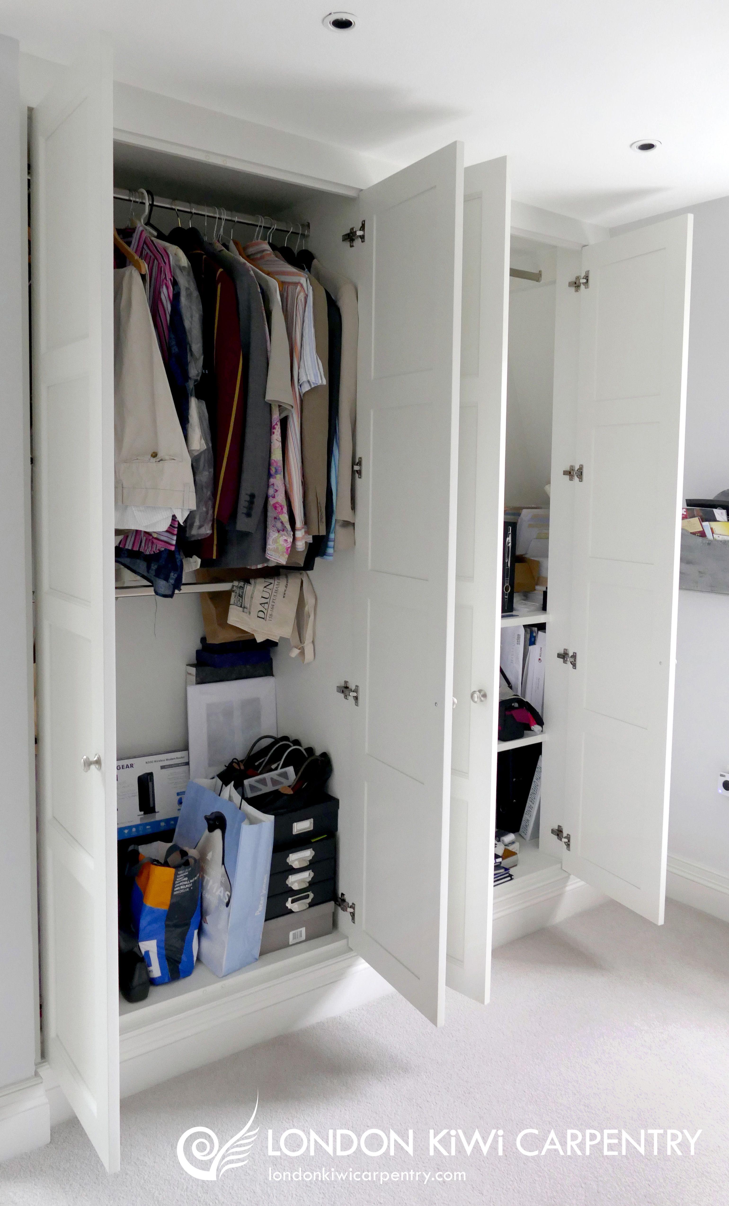 Double wardrobe (open) with shelving by London Kiwi Carpentry #storage #interiors # & Double wardrobe (open) with shelving by London Kiwi Carpentry ...