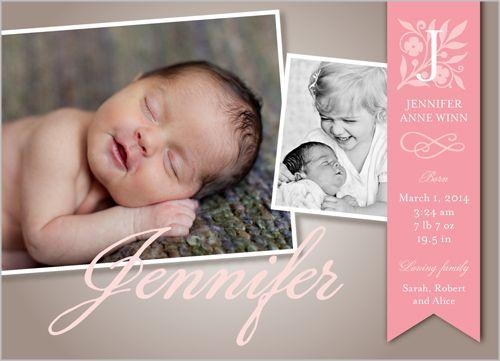 Monogram Ribbon Girl Birth Announcement, Shutterfly Baby