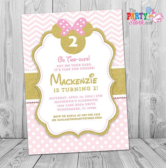 Minnie Mouse Birthday Invitations Printable By Thepartystork 2 Year Old