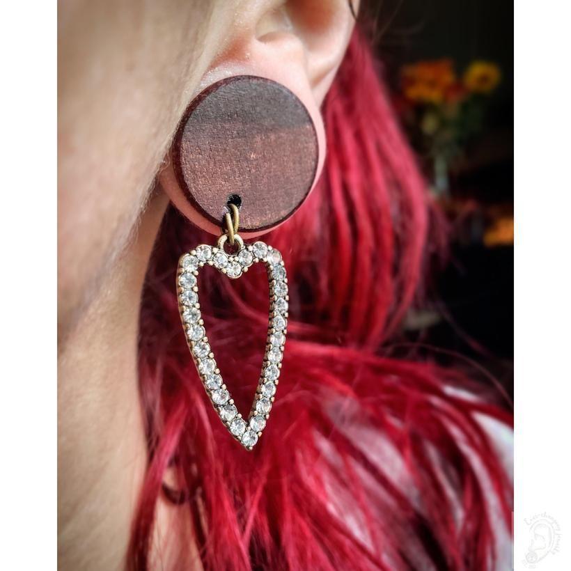 Organic Bloodwood Heart Of Gold Dangle Plugs Gold Earrings Dangle Dangle Plugs Earrings