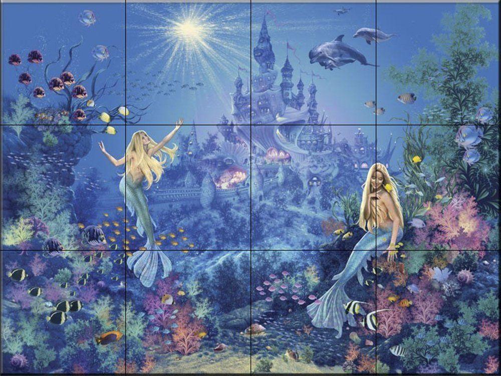 Mermaid Bathroom Tile Mural Bathroom Mural Wall Mural
