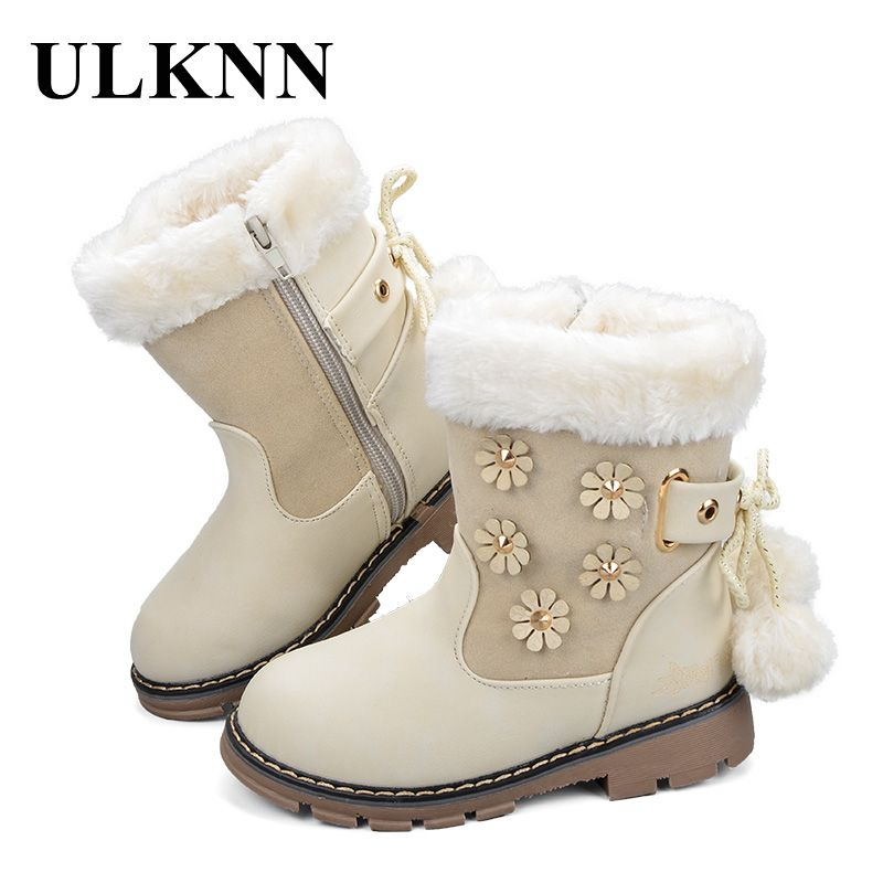e535ab18e Encontrar Más Botas Información acerca de Ulknn Niñas Botas Zapatos invierno  Botas de nieve caliente para los niños Zapatos tobillo punta redonda felpa  goma ...