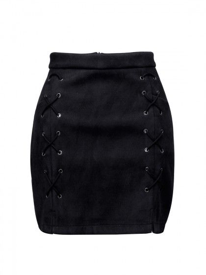 0c9f683653c Black Faux Suede Lace Up Side Pencil Skirt in 2019 | Clothes | Suede ...