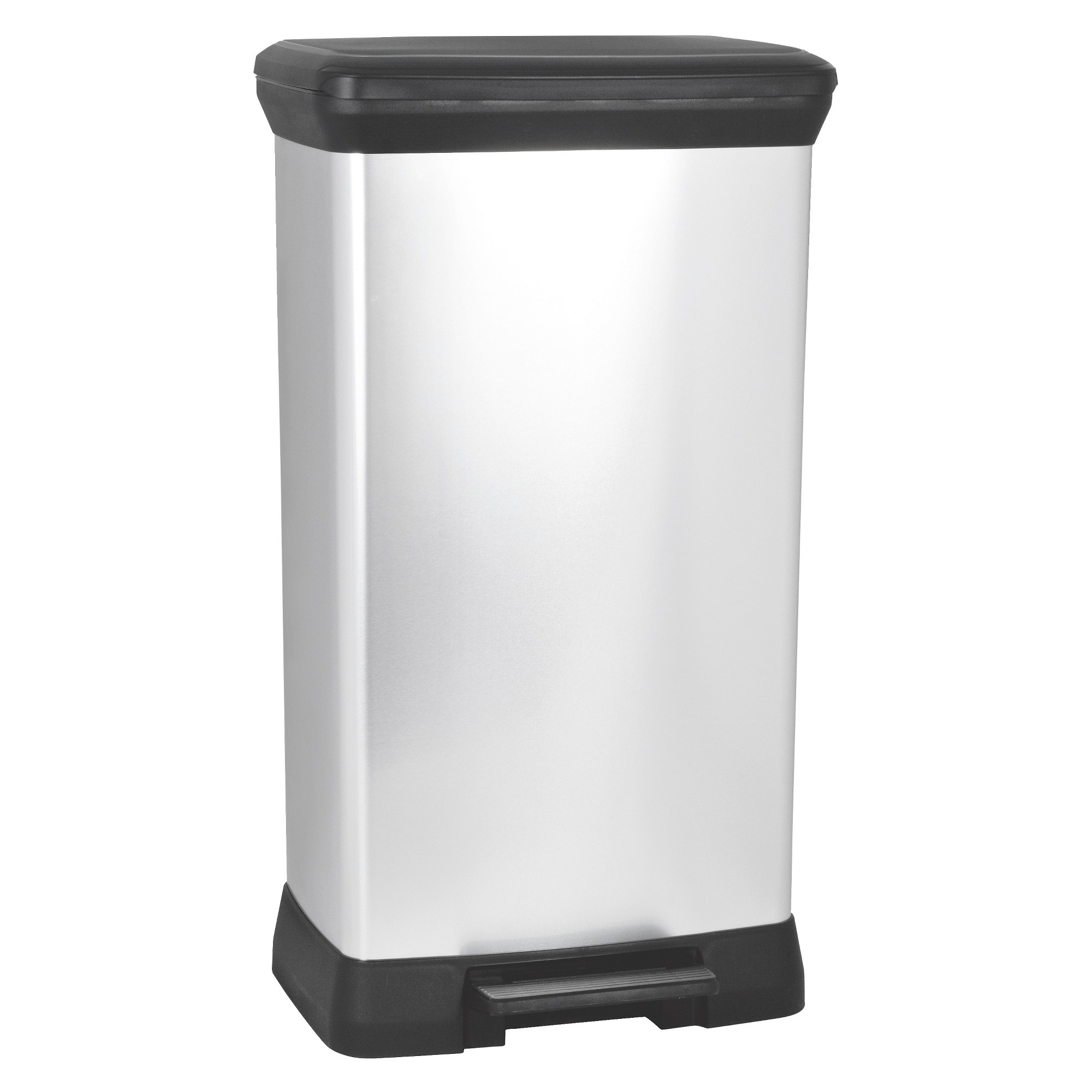 Curver 50 Liter Rectangle Step Trash Can Chrome