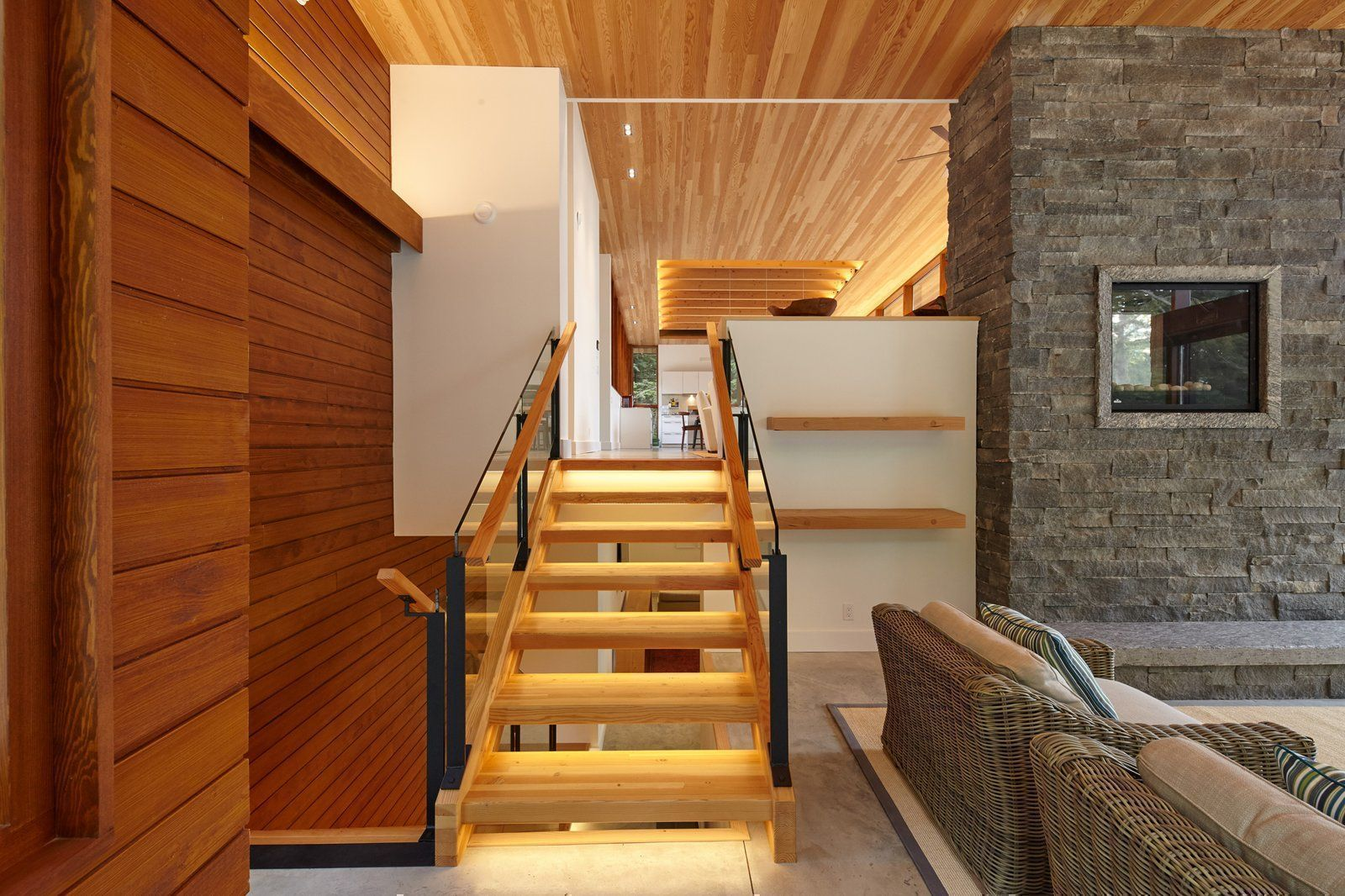 Modern home with Staircase Wood Tread Metal