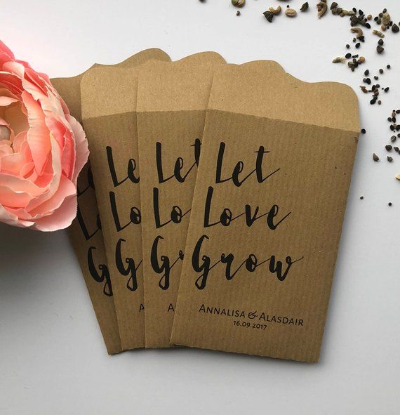 10 'Let Love Grow' Double Sided Wedding Favour Seed Packet
