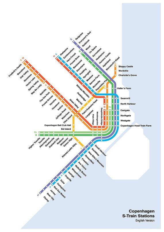 Copenhagen S-Train & Metro Map, Literal English Translation