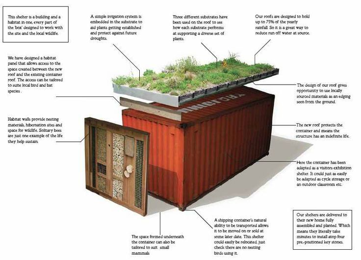 roof garden on shipping container detail