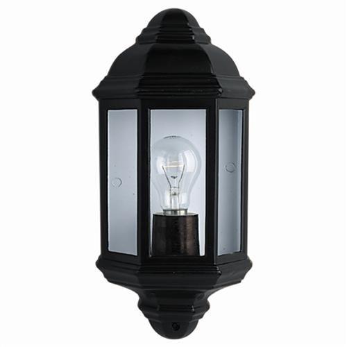 Black Outdoor Half Lantern Wall Light 280Bk