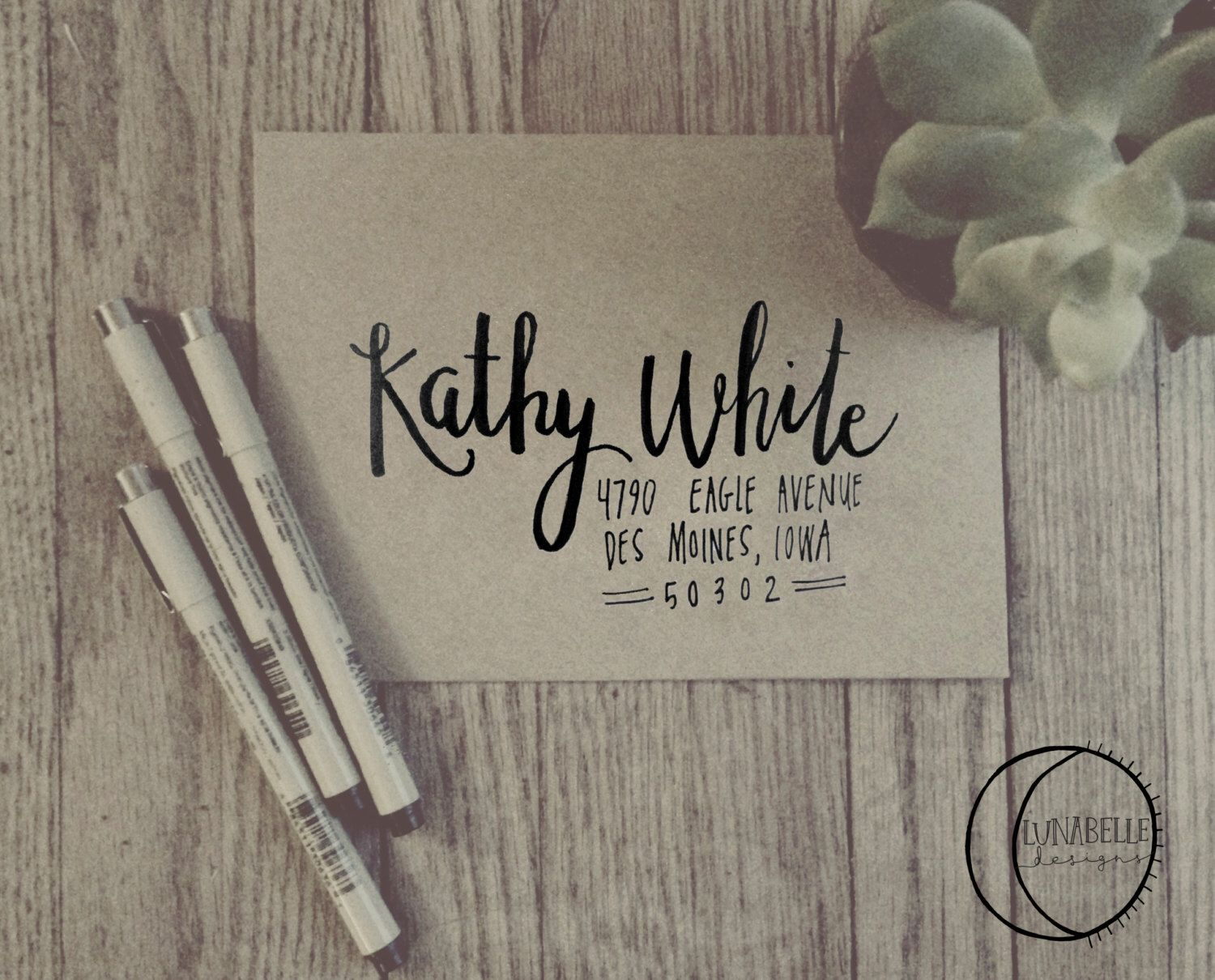 handwrite or print wedding invitation envelopes%0A Kathy Style    Envelope Addressing services    Hand lettered by cassfet on  Etsy https