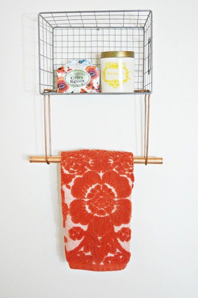 This creative wire basket towel rack is
