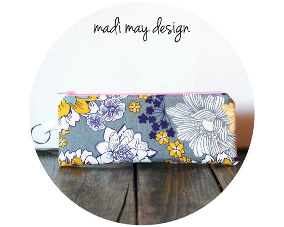 Mini Cosmetic Pencil Pouch Flourish Flower Purple by madimaydesign, $7.95