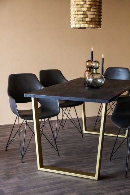 Black Mango Wood Dining Table With Gold Legs Rockett St George Dining Table Black Gold Dining Room Modern Black Dining Room