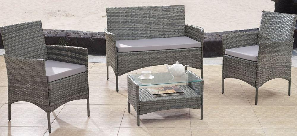 wicker conversation patio set 4 piece outdoor furniture table chairs rh pinterest com au