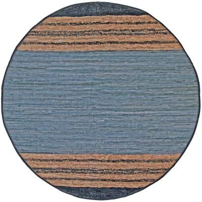 Matador Gray Leather 3 Ft X 3 Ft Round Area Rug Round Area