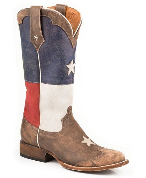 7fe5534ca9a Roper Distressed Texas Flag Cowgirl Boots - Square Toe   God Blessed ...