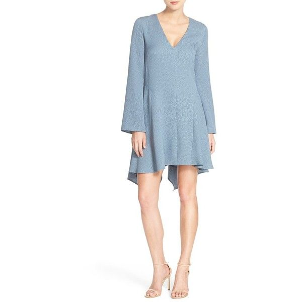 BCBGMAXAZRIA 'Robyn' Jacquard Trapeze Dress ($248) ❤ liked on Polyvore featuring dresses, light ash blue, long bell sleeve dress, v neck dress, bell sleeve dress, long sleeve plunge dress and jacquard dress