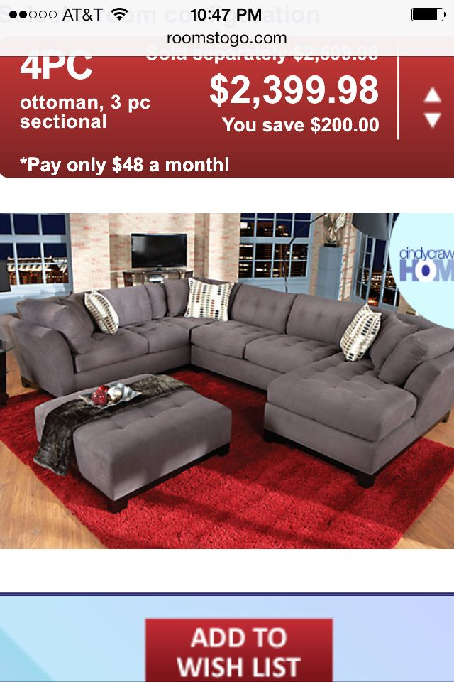 rooms to go cindy crawford sectional home decor at home rh pinterest com