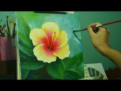 Pintar Hibiscus Painting Hibiscus Youtube Flores Pintadas