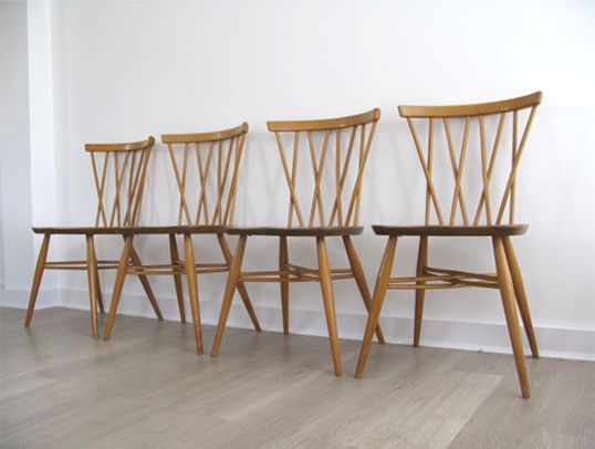 1960s SET OF 4 SOLID ELM BEECH ERCOL CANDLESTICK DINING CHAIRS Retro Heals 60s