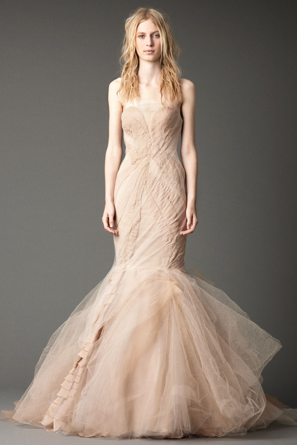 Vera Wang Fall 2012 Wedding Collection - Strapless mermaid gown with chiffon laddering and tumbled skirt.