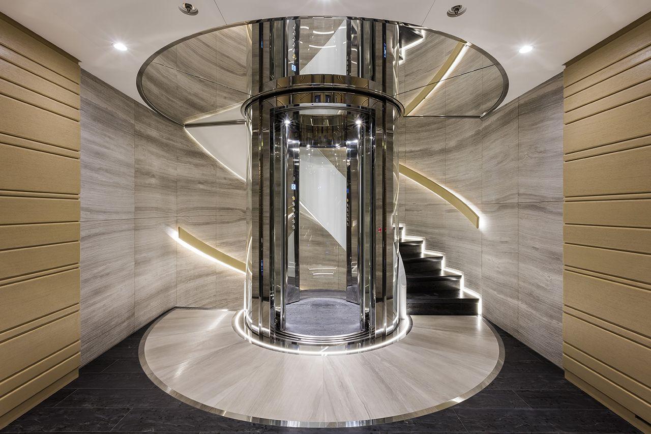 Fm architettura d 39 interni waku 62m benetti italian for Luxury elevator
