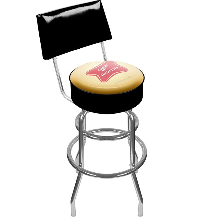 Miller High Life Padded Shop Stool with Backrest - Car Guy Garage  sc 1 st  Pinterest : garage stool with backrest - islam-shia.org