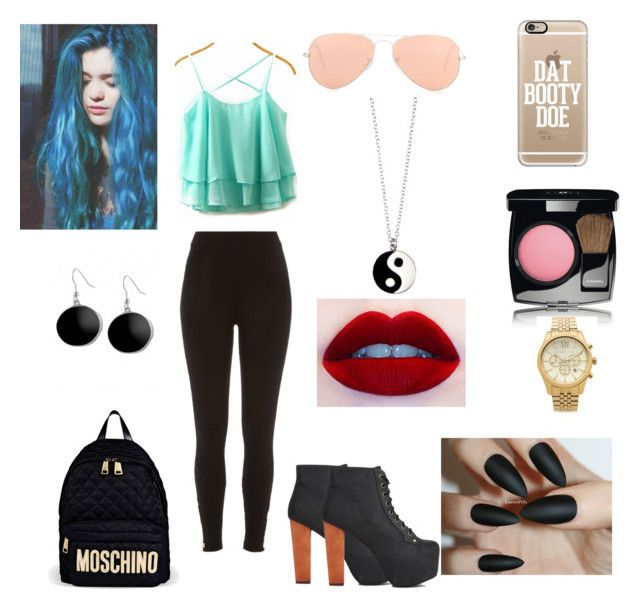 """""""day 1"""" by angellerose ❤ liked on Polyvore featuring River Island, Jeffrey Campbell, Casetify, Moschino, Ray-Ban, Chanel, Michael Kors, Karen Kane and Monsoon"""