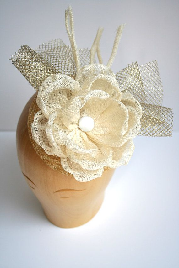 Large sinamay flower bridal headpiece by ClaireQuillier on Etsy