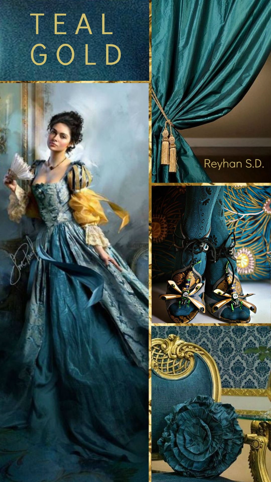 Teal & Gold \'\' by Reyhan S.D. | pains | Pinterest | Farben ...