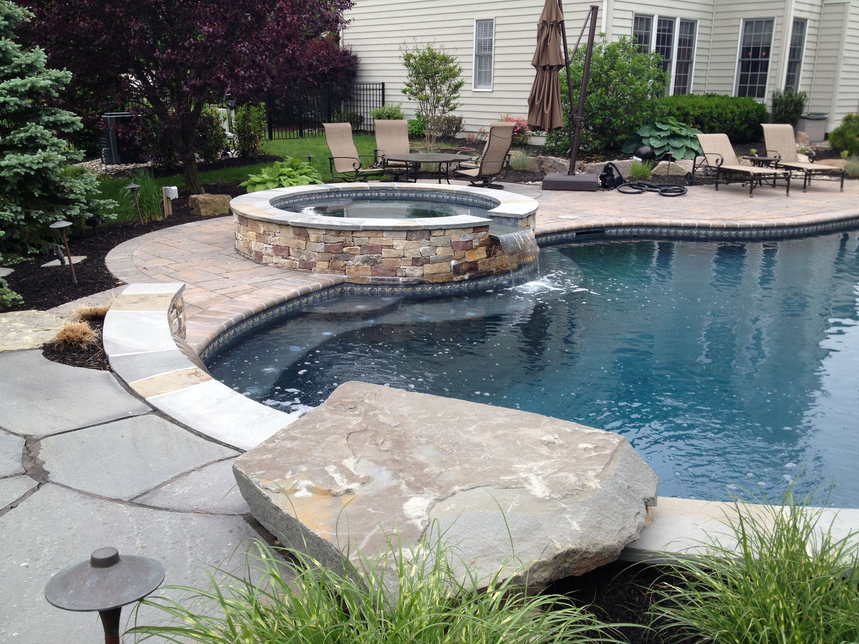 Jump Rock On A Swimming Pool In Newtown Pa Swimming Pool Slides Pool Patio Rock Garden Design
