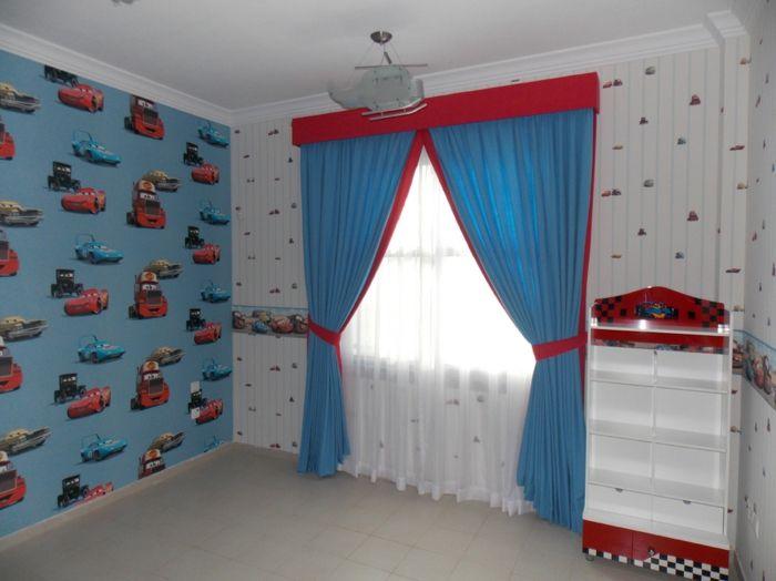 tapete kinderzimmer junge akzentwand blaue gardinen | Kinderzimmer ... | {Kinderzimmermöbel junge 41}