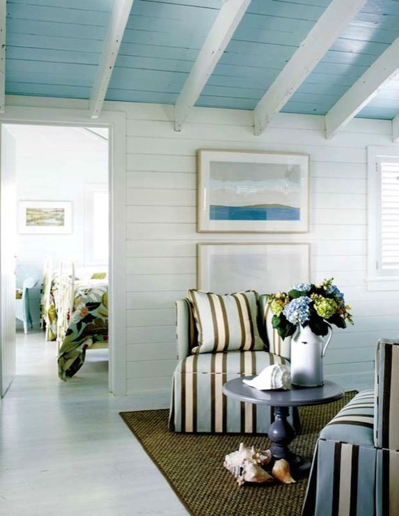 Kathleen hay design fun beachy guesthouse with sloped for White ceiling with wood beams