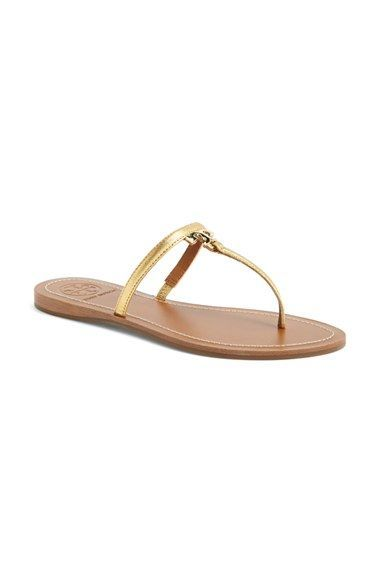 36b15479b7506c Tory Burch  T  Logo Leather Thong Sandal (Women) available at  Nordstrom