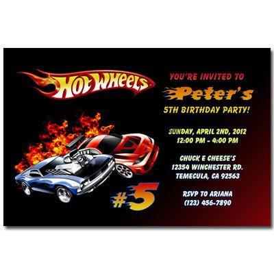 Printable Hot Wheels Invitations Custom Made Birthday Party Invites  Personalized Digital. $11.99, Via Etsy